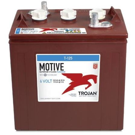 T-125 - 6V 240AH TROJAN DEEP CYCLE FLOODED BATTERY